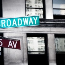 new york in 5 Tagen - broadway sign in new york city with grungy high contrast coloring