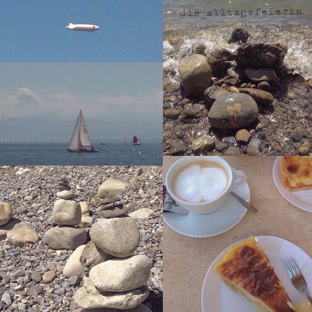 Seeimpressionen, Zeppelin, Segelboot, Steinmännchen und Kaffee